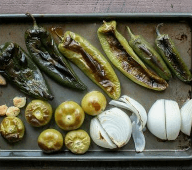 roasted tomatillos and peppers