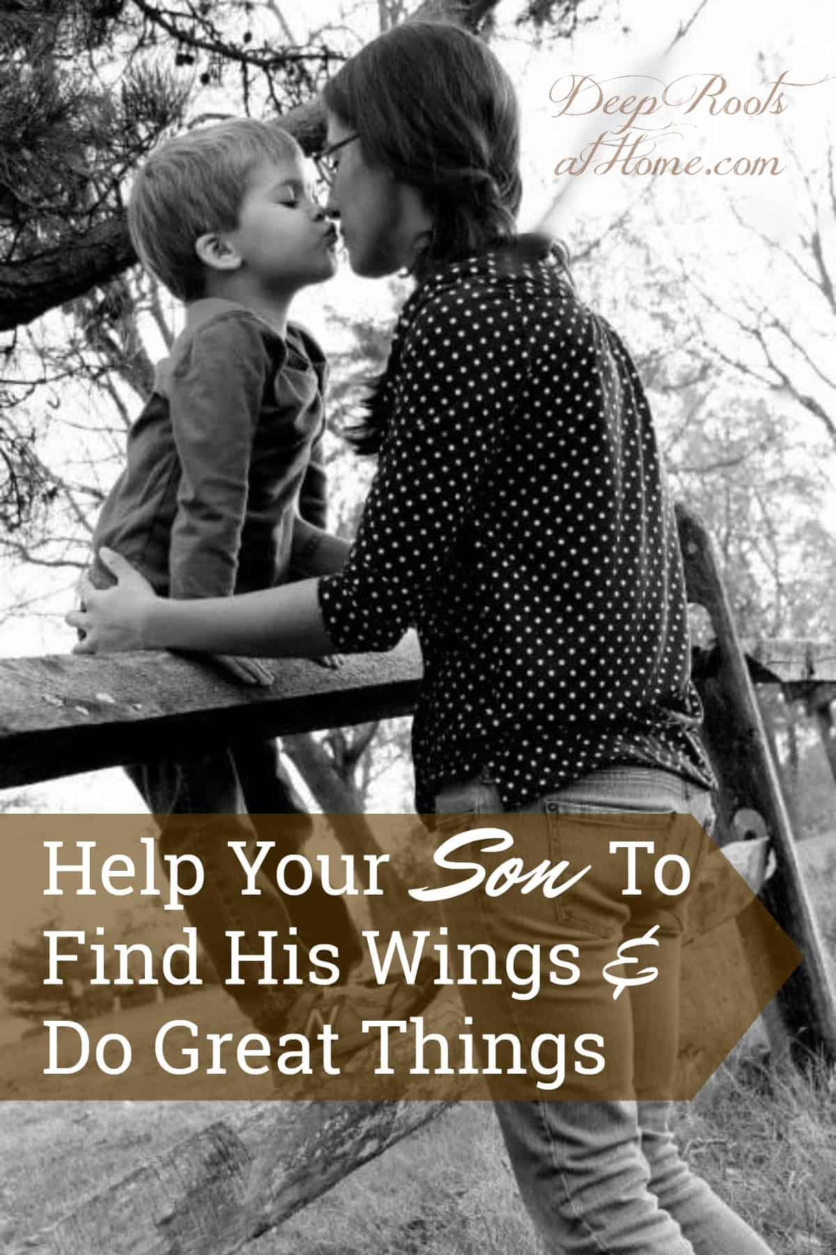 Help Your Son To Find His Wings & Do Great Things. A mother and her son climbing on a fence sharing bonding time.