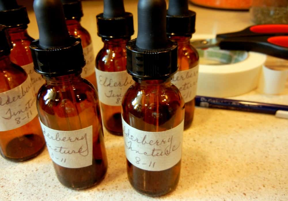 Getting More Self-Sufficient Homemade Elderberry Tincture. amber bottles for storing tincture