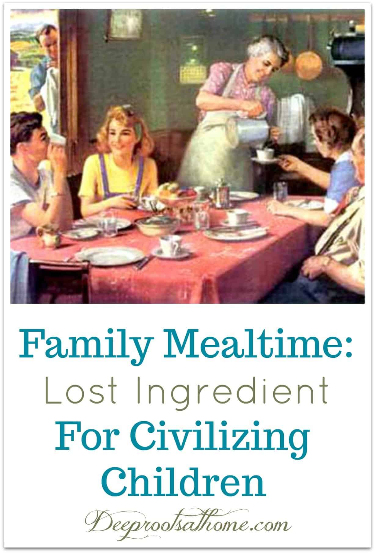 Family Mealtime: Lost Ingredient For Civilizing Children. A family, laughing together, sharing a meal.