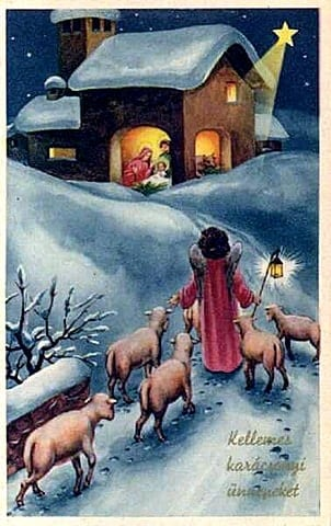 Profound Christmas Quotations For Your Heart To Ponder. A vintage Christmas card. The Bethlehem star shining down on Mary and Joseph, baby Jesus in a manger,