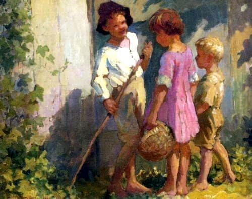 Longing for The Good Ol' Days, paintings, artists, Waterhouse, children, families, parents, farms, animals, play, outside, work with hands, XBox, internet, letter writing, text, telephone, girl, boy, man woman, read-aloud, movie night, sisters, brothers, reading, children's books, Psalm 90:12, Ephesians 5:15-17, nostalgia, farming, wishful thinking, vintage, farm life, family life, old days, intentional living, sustainable living, pagan culture, family values, internet, blogging, keeping a journal, rural living, homesteading, homeschooling, vintage artwork, stay at home mom, children with grandparent, vintage, Opa, children, vintage, work in garden