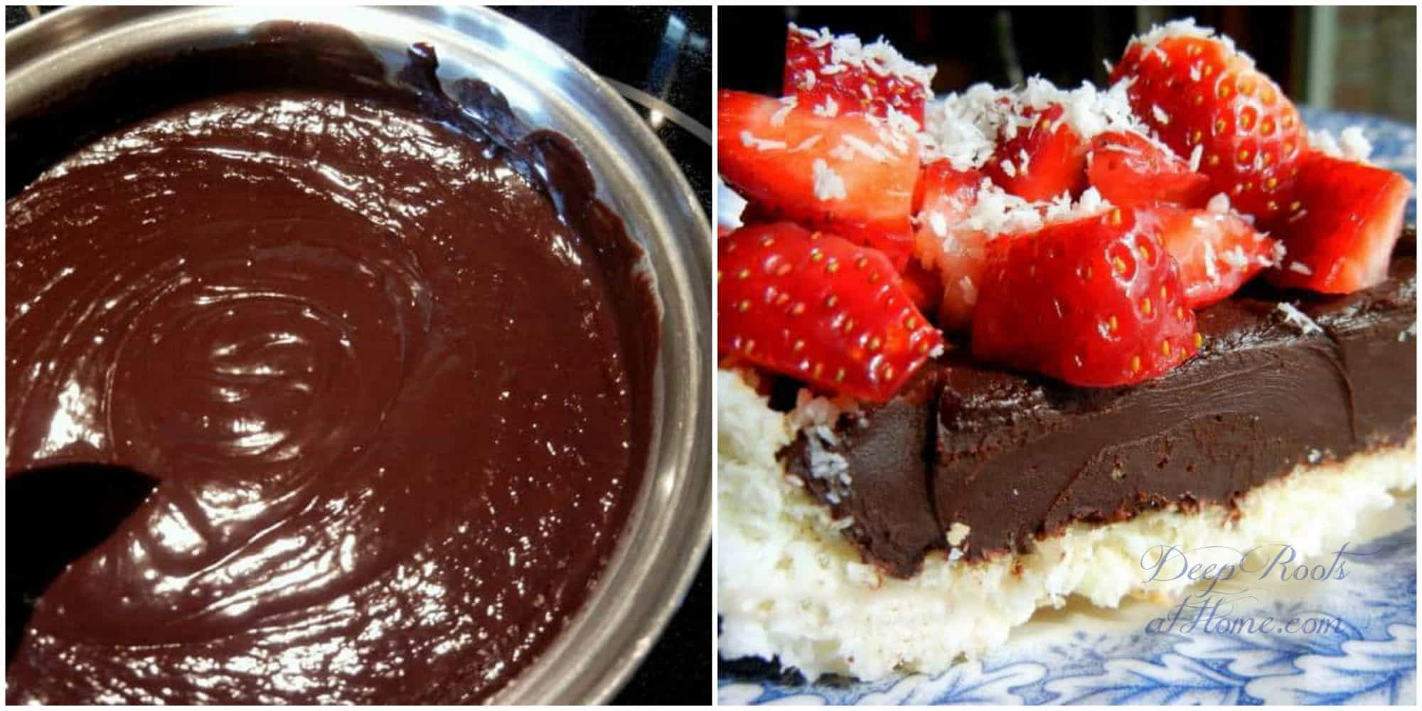 making rich chocolate filling and adding strawberries