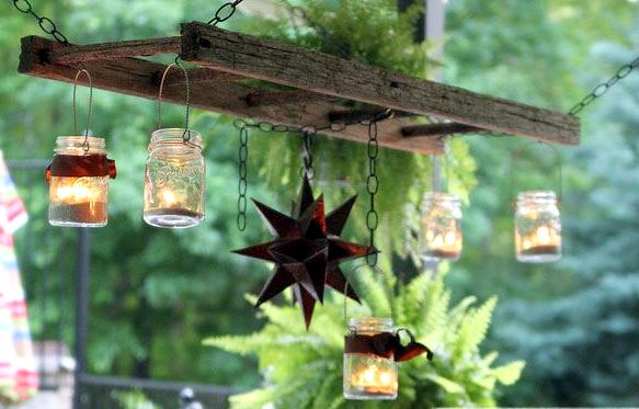 Creating Whimsy In Your Backyard & Garden, Part One. Ball jar lighting with candles for outdoor party lights