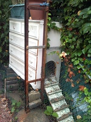 An old country chicken coop out of a recycled chest of drawers