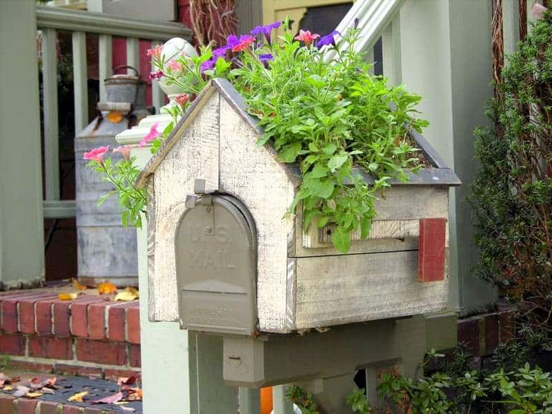 Whimsy In Your Yard & Garden, Part Two, outdoor space, decorating, yard, outdoor room, mailbox planter, wooden planter box for trailing flowers