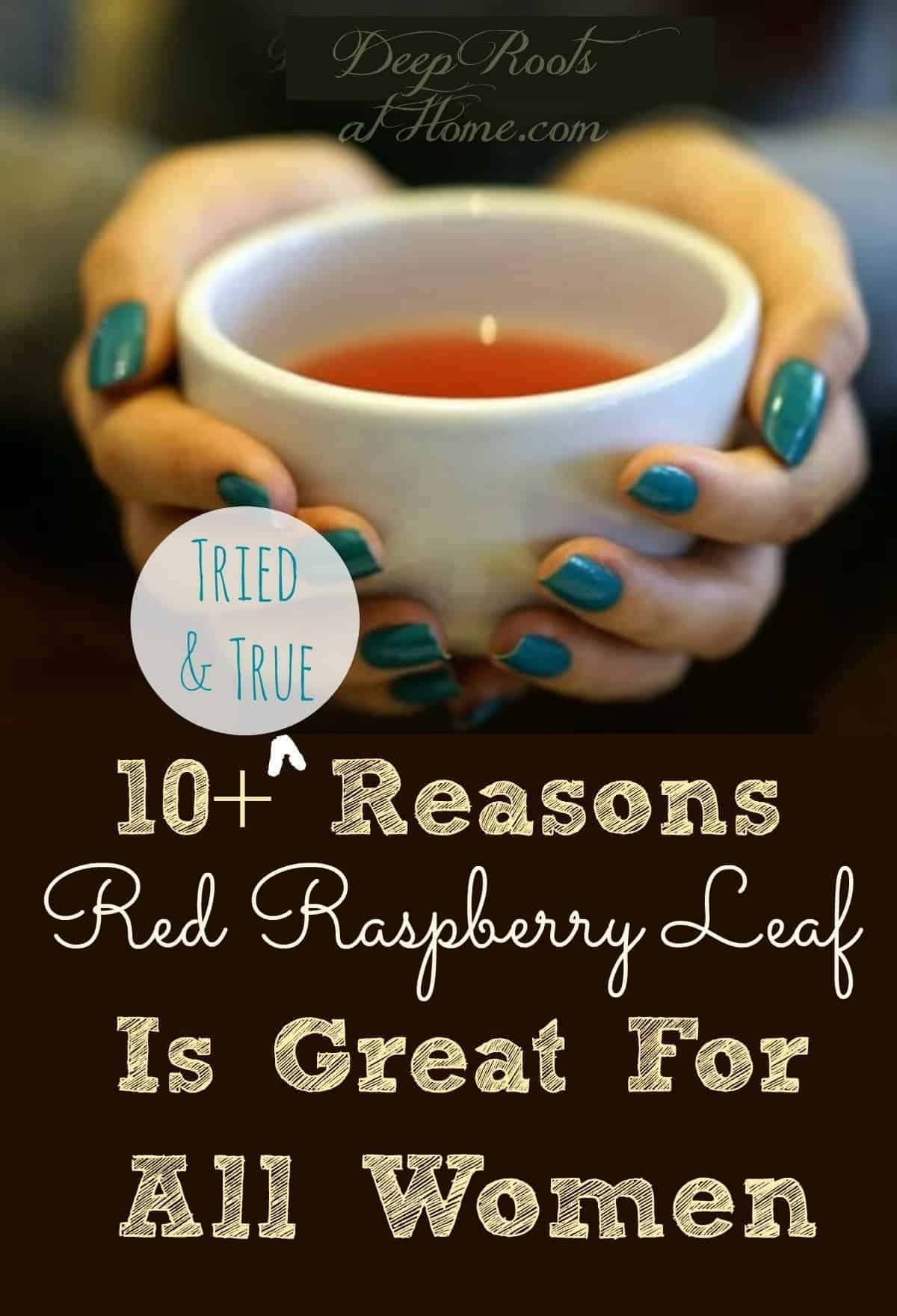10 Tried & True Reasons Raspberry Leaf Is Great For All Women. A woman holding a cup of red raspberry tea. Pin image.