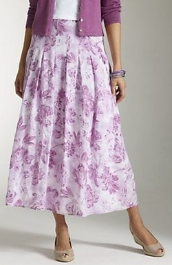 From Church To Wedding To Black Tie Event: Getting Dressy. A summer weight skirt lavender floral,