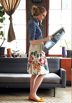 A Big Picture View Of Modern Feminine Dress: First Installment. reading a newspaper in an eclectic trendy outfit