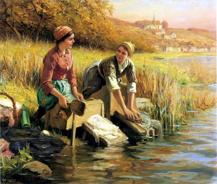 The Decline of Sturdy Womanhood, Daniel Ridgway Knight, historical artwork, work, character, virtue, fortitude, contentment, brave, muscles, the Washerwomen, women settling wild West, faithful helpmeet, oldpaths.com, Sandra Cobble, de-feminization of women, biblical womanhood, moral purity, valorworking women, feminism, de-feminization,, masculinization, William-Adolphe Bouguereux, Young Shepherdess, The Washerwomen ~ Daniel Ridgway Knight