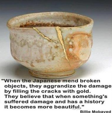 Kintsugi and The Beauty Of Imperfection In Cracked Vessels. repaired crack in pottery cup, quote Billy Mobayad