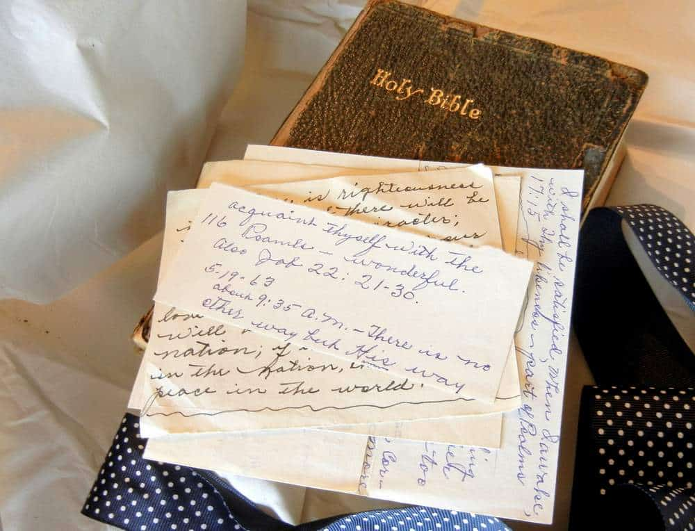 Nana's old Bible, family Bible, old letters,