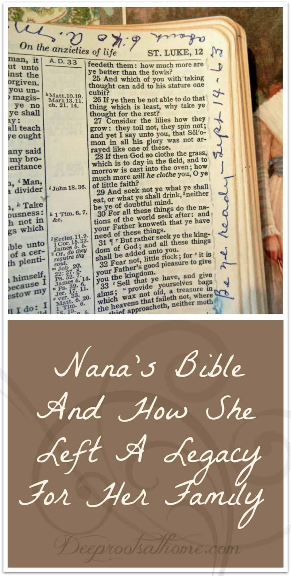 Nana's Bible And How She Left A Legacy For Her Family. Nana's writing in margins