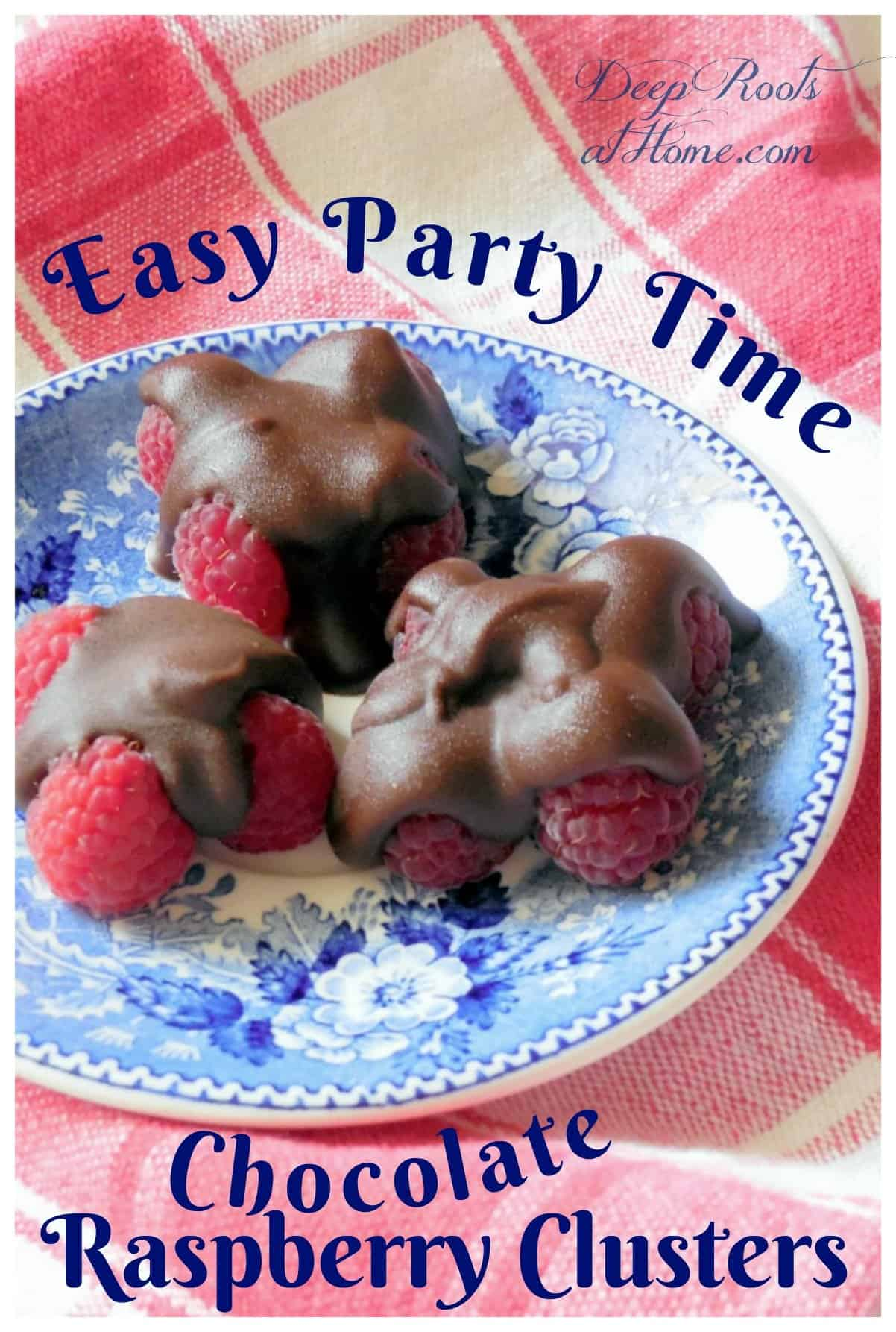 Easy Party Time Chocolate Raspberry Clusters Recipe. Fresh raspberry chocolate clusters