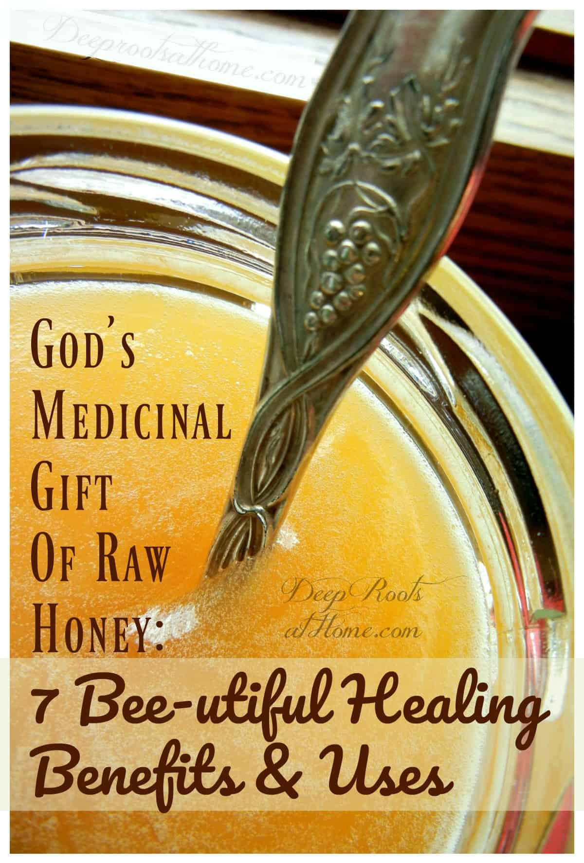 God's Medicinal Gift Of Raw Honey: 7 Bee-utiful Healing Benefits & Uses. A beautiful glass raw honey pot.