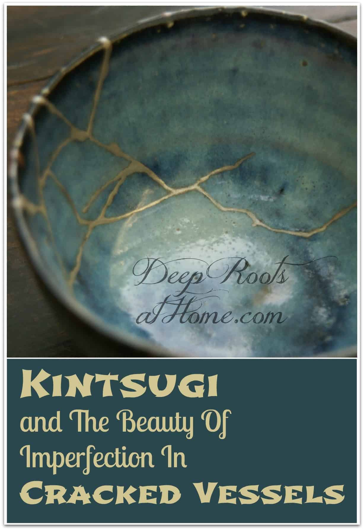 Kintsugi and The Beauty Of Imperfection In Cracked Vessels. A gold-repaired crack in turquoise pottery bowl