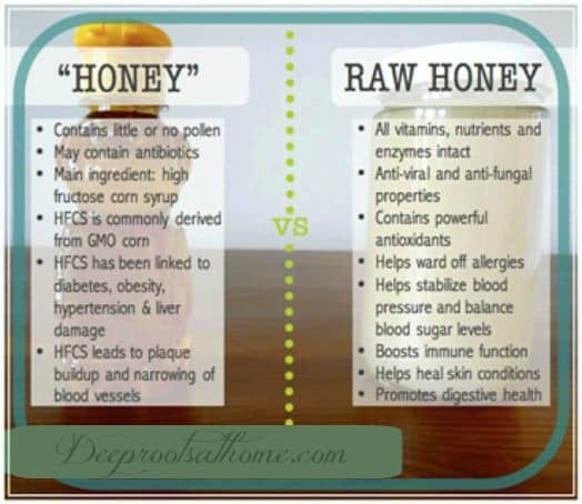 The Gift Of Raw Honey: Seven Bee-utiful Benefits & Uses, crystallized, raw honey, warming to get honey to flow, pouring, flowable, local honey, bees, honey bees, pollen, nectar, allergies, health benefits, immune system, mold, honeycomb, pasteurized honey, white sugar, High fructose corn syrup, enzymes, wound healing, acne, folk medicine, imported from China, GMOs, store bought, beneficial to the gut, antiviral, antifungal, balance blood sugar levels, sooth sore throat, constipation, calm upset stomach, prevent allergies, sunburn relief, vitamins and minerals, vitamins B1, B2, B3, B5, B6, vitamin C, will never spoil, stores forever