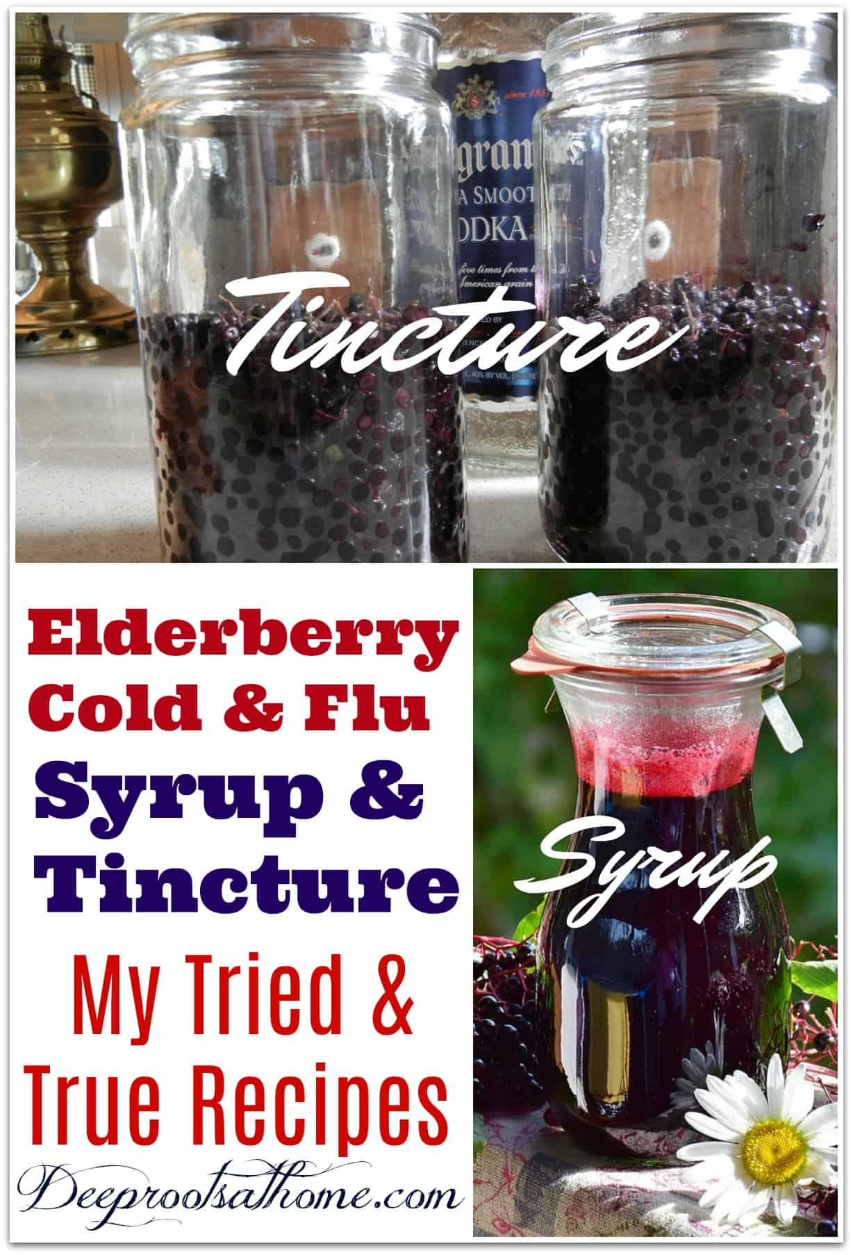 Elderberry Cold & Flu Syrup and Tincture: My Tried & True Recipes. Recipes for both elderberry tincture and elderberry syrup, an herbal medicine.