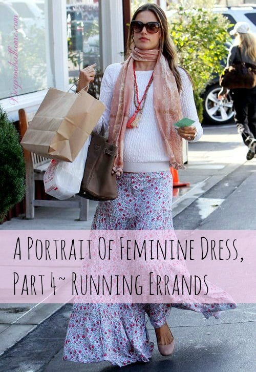 A Portrait Of Feminine Dress, Part 4~ Running Errands, Trader Joe's, daughters, home-schooling, Christians, grocery shopping, window shopping, clothing, witness, long skirts, embroidery, back to school, cardigan, shirt dress, DIY, sewing, style, fashion, tucking, bow, blouse, knit hat, midi skirt, maxi skirt, femininity, modesty, wearing skirts, women's issues, Christian women, shopping, running errands, being lady-like, ambassador for Christ, Clothed Much, scarves change an outfit, Modest Mom blog, woolen shawls, wraps, mix 'n match, consignment shops, thrifting, respect,