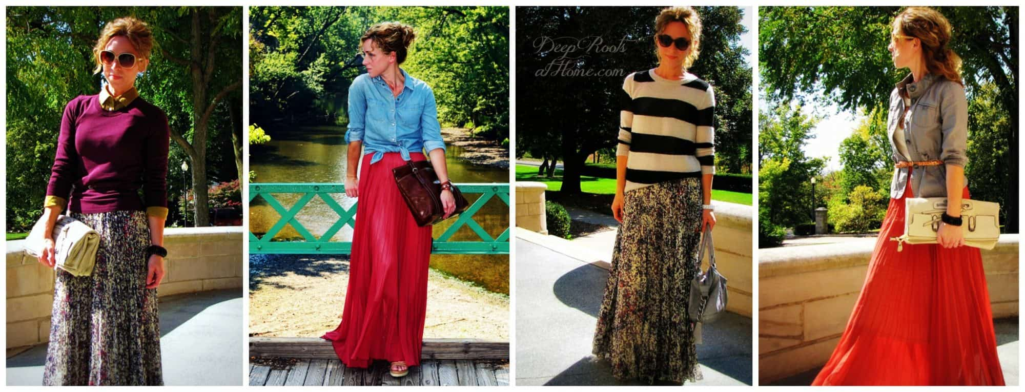 Beautiful, Feminine Style Running Errands & On the Go. Ways to wear a maxi skirt