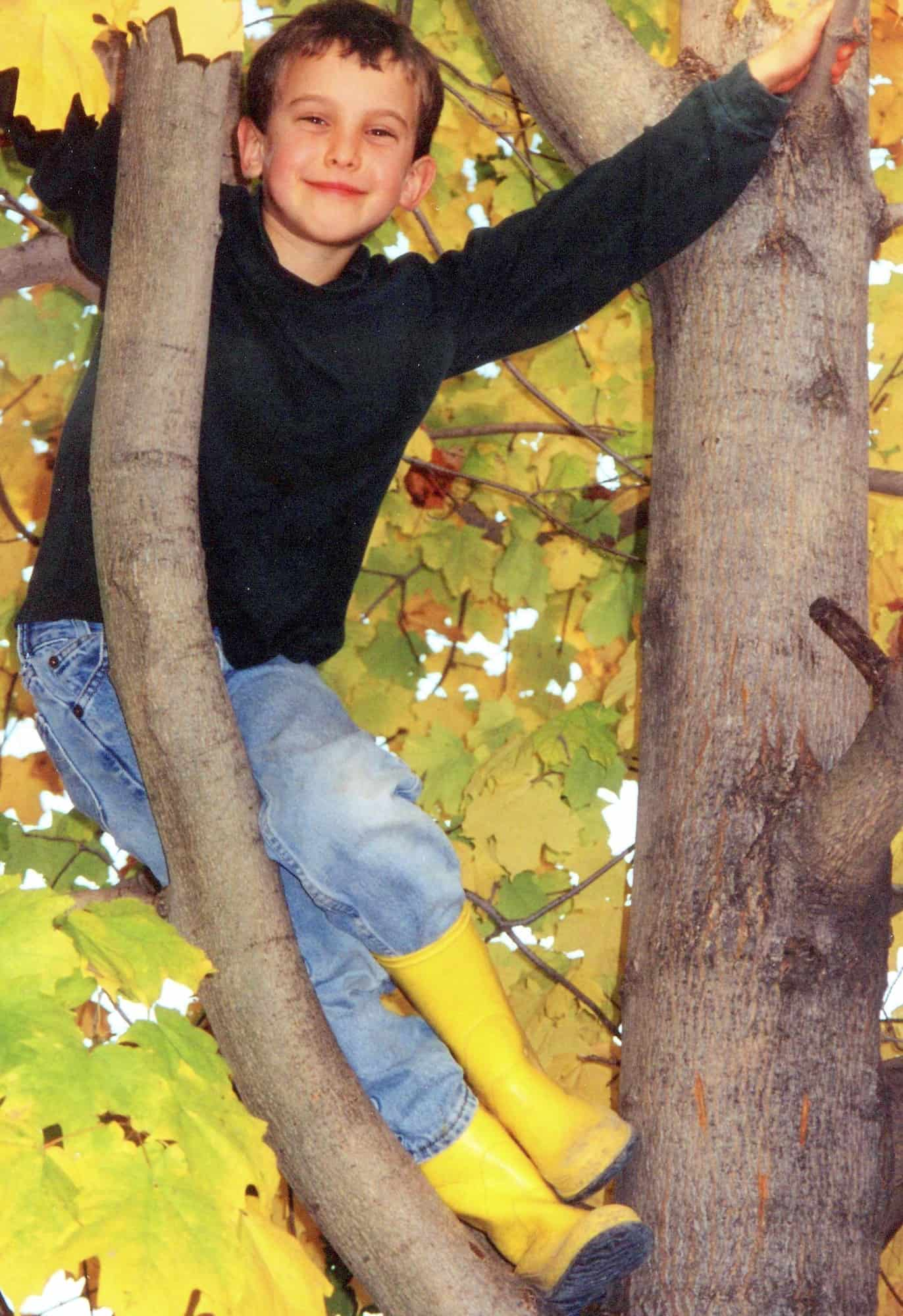 Moldable Boys: Raise Them to be Competent, Hard-Working & Masculine. My son climbing high in a tree