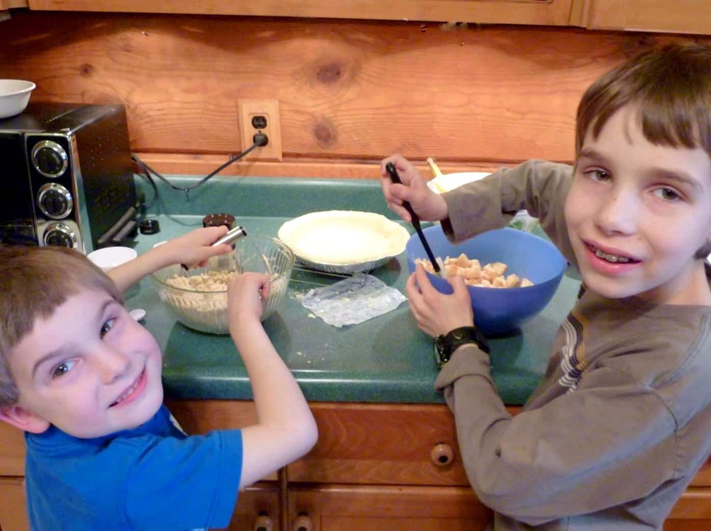 Raising Masculine Boys That Know How & Aren't Afraid To Cook. helping Mom cook