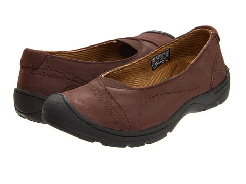 Finding Flattering Shoes & Footwear To Wear With Skirts & Dresses. Keen brown support shoe