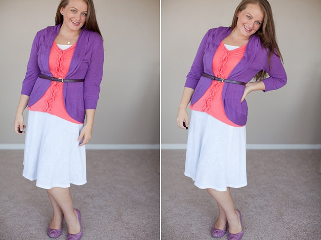 A Portrait Of Feminine Dress, Part 7 ~ Skirts and Flattering Shoes, strappy shoes, feminine, modest, with skirts, tights in the winter, leggings, flattering shoes for skirts, cute flats for wearing with skirt and dresses, purple shoes, feminine, modest
