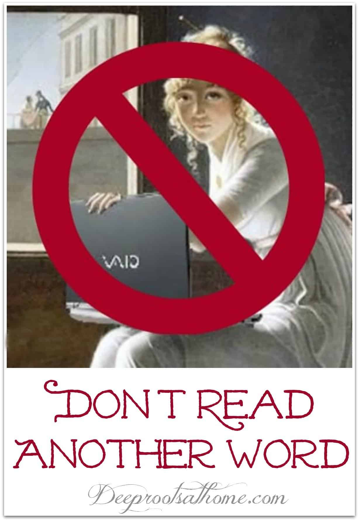 Don't Read Another Word. old time woman with a laptop