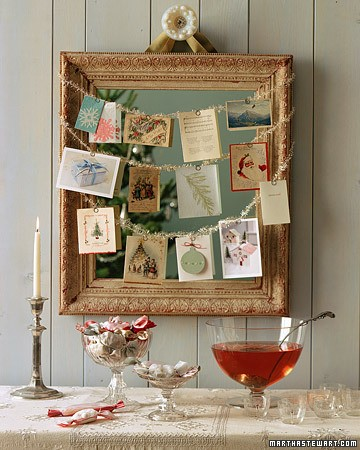 Simply Classic & Timeless Natural Holiday Decorations. sparkly tinsel wire on picture frame