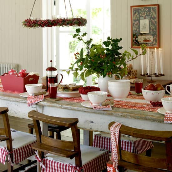 Simply Classic & Timeless Natural Holiday Decorations. Hanging chandelier, Scandinavia style, holiday table setting,