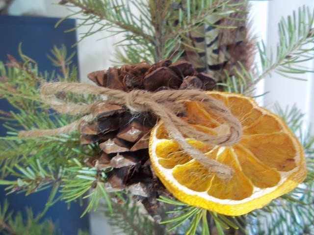 Simply Classic & Timeless Natural Holiday Decorations. pine cone and dried orange ornaments, hand-made