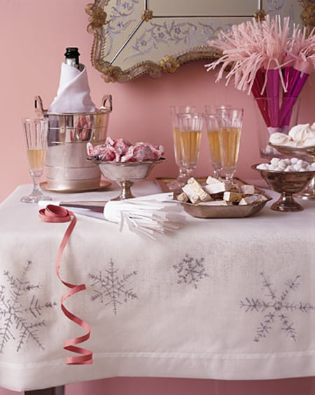 Simply Classic & Timeless Natural Holiday Decorations. snowflake tablecloth, Martha Stewart instructions,