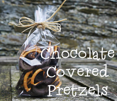 chocolate covered pretzels, homemade gift