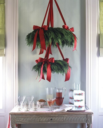 Simply Classic & Timeless Natural Holiday Decorations. hanging chandeliers, Scandinavian style, holiday table setting