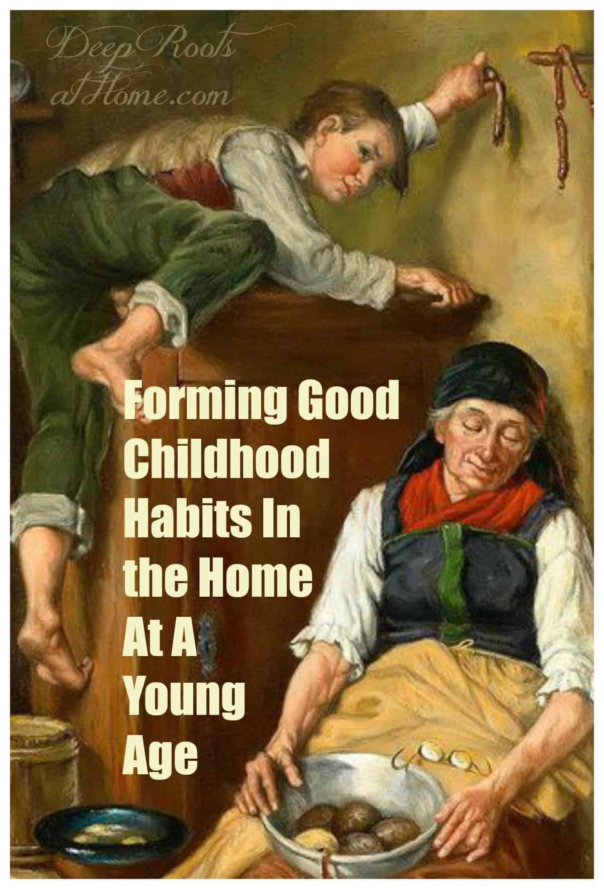 On Forming Good Childhood Habits In the Home At A Young Age. A old woman sleeping and a disrespectful boy climbing on the furniture