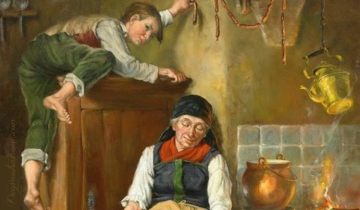 On Forming Good Childhood Habits In the Home At A Young Age, bad boy, bad character, stealing, oil pinting, antique painting, old woman, grandmother, sneaky boy, classic art, painting, Harry Brooker, Boy stealing sausage while mother/grandmother sleeps. discipline, kitchen scene, old-fashioned kitchen, kettle on the fire, drying sausages, meat hanging, garden produce, peeling potatoes, head of cabbage, tired old woman, disrespectful boy, climbing on the furniture