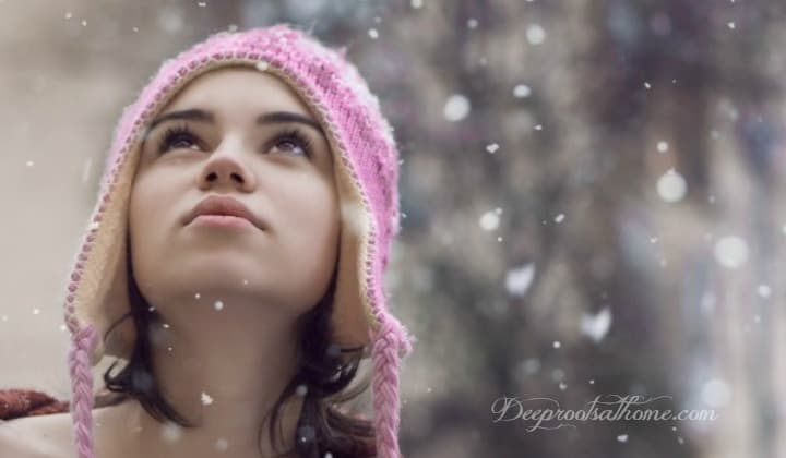 Winter's Hidden Microscopic Beauty In The Snowflake. girl in pink hat, snowfall, snowflakes, looking up