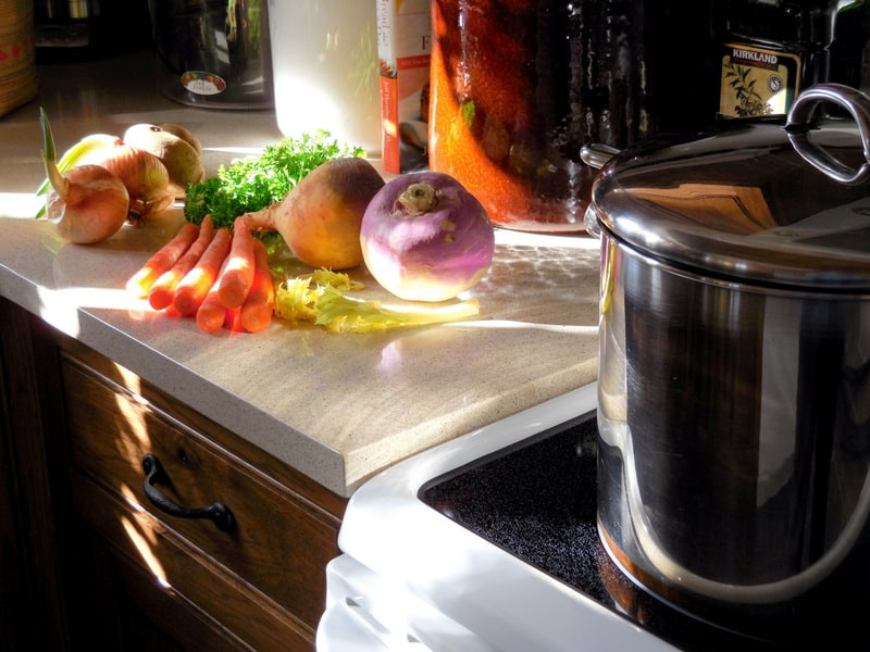 Using Color In Winter, To Cheer The Home & Heart. Root vegetables in pretty colors, kitchen scene