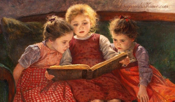 Character-Building Book Resources For Raising Girls, painting by Walter Firle, Three Reading Girls