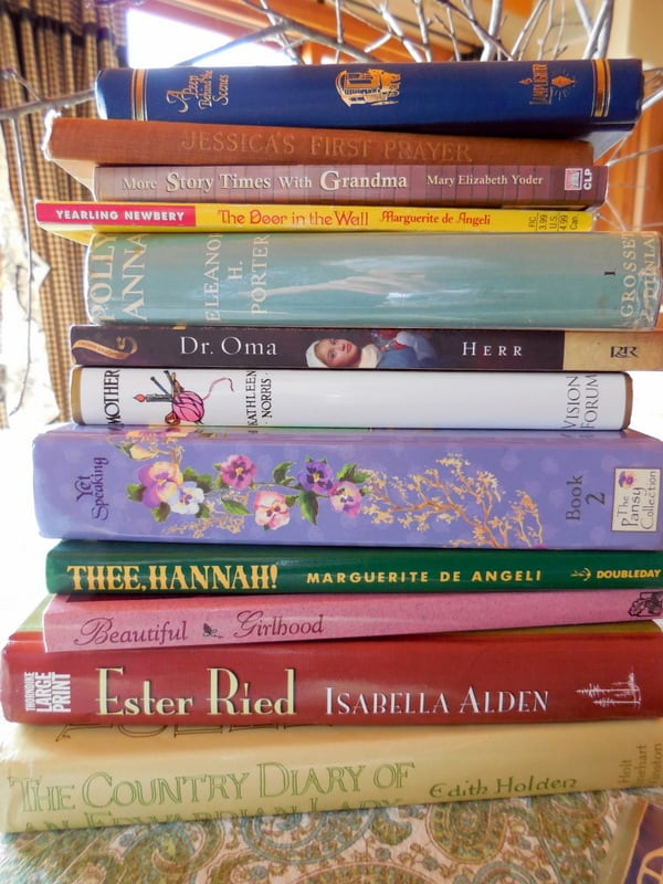 Character-Building Book Resources For Raising Girls, stack of excellent books: Thee Hannah, The Door In the Wall, Ester Ried, Story Times with Grandma, Dr. Oma, Jessica's First Prayer,