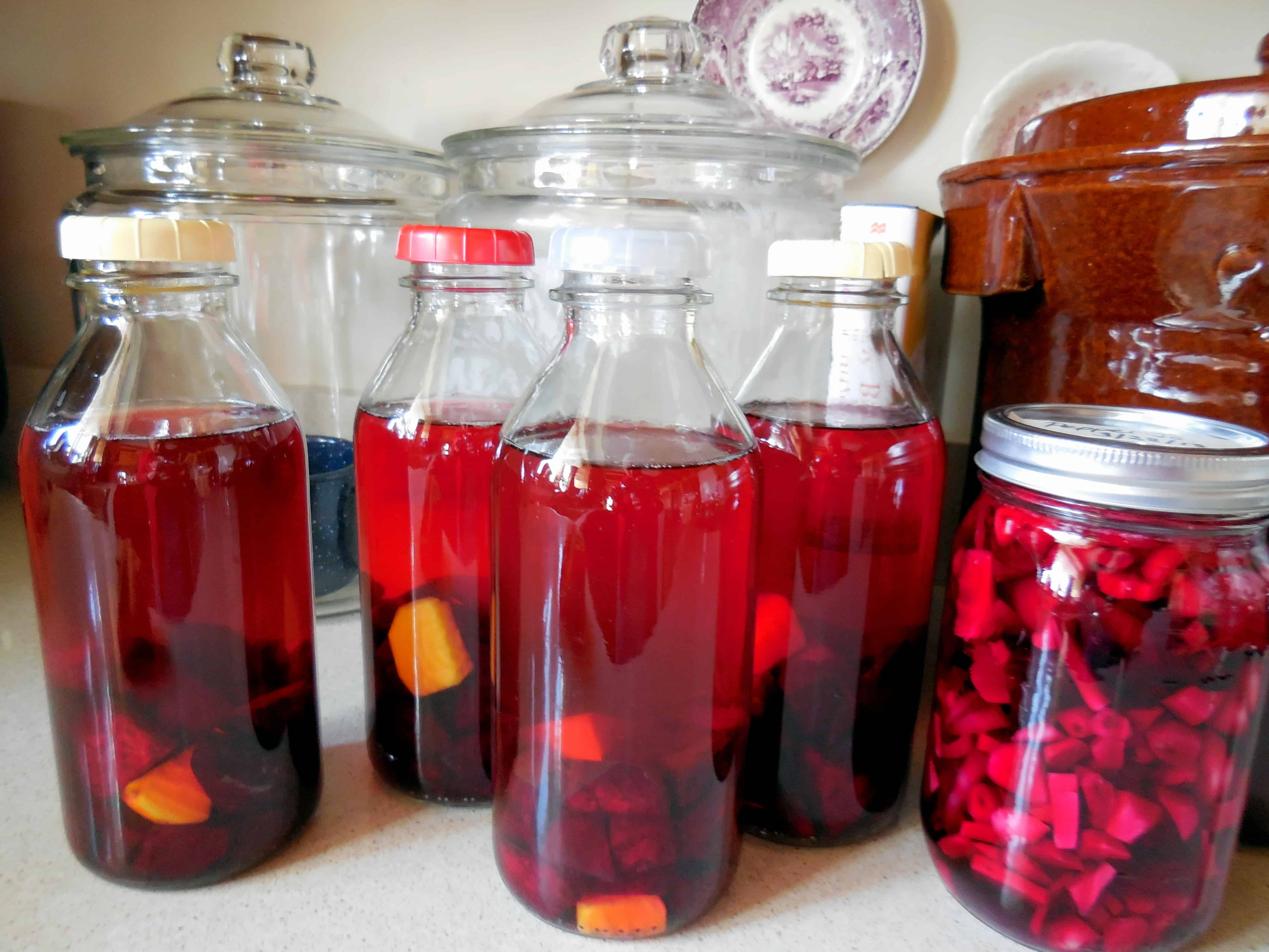 steeping with beet kvass on the counter