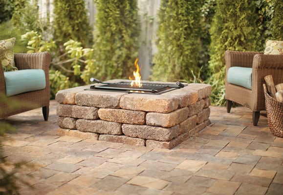 stone fire pit,with grate