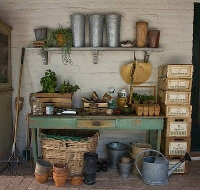 garden potting shed, watering cans