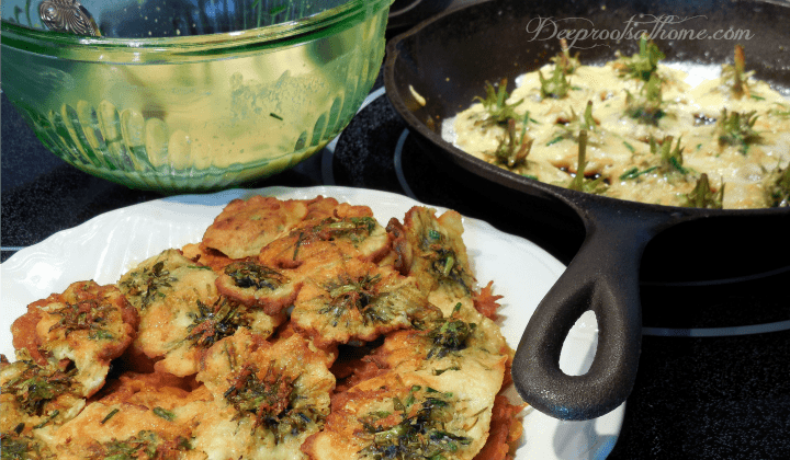 making batter, frying dandelions, cast iron skillet cooking, golden brown fritter pancakes