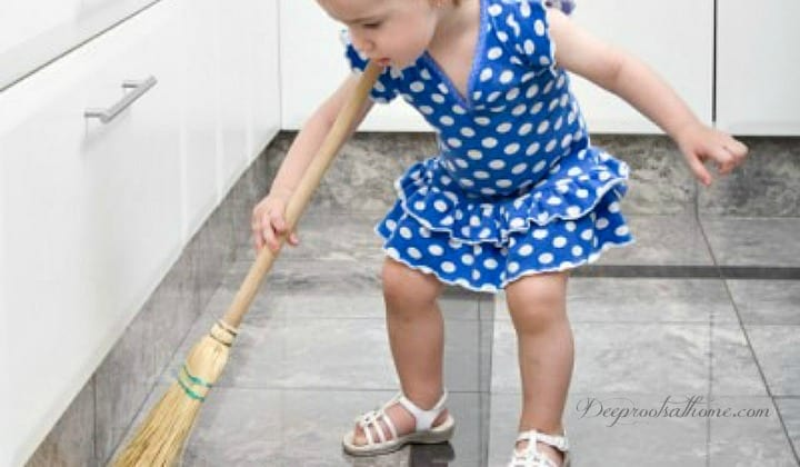 Do You Have A Homemaker in Training?, little girl sweeping floor, child in blue dress, broom, sweeping the floor, train up a child, homemaking, housekeeping, mother and daughter,