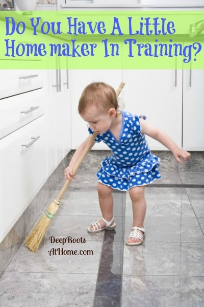 Do You Have A Homemaker in Training?, little girl sweeping floor,