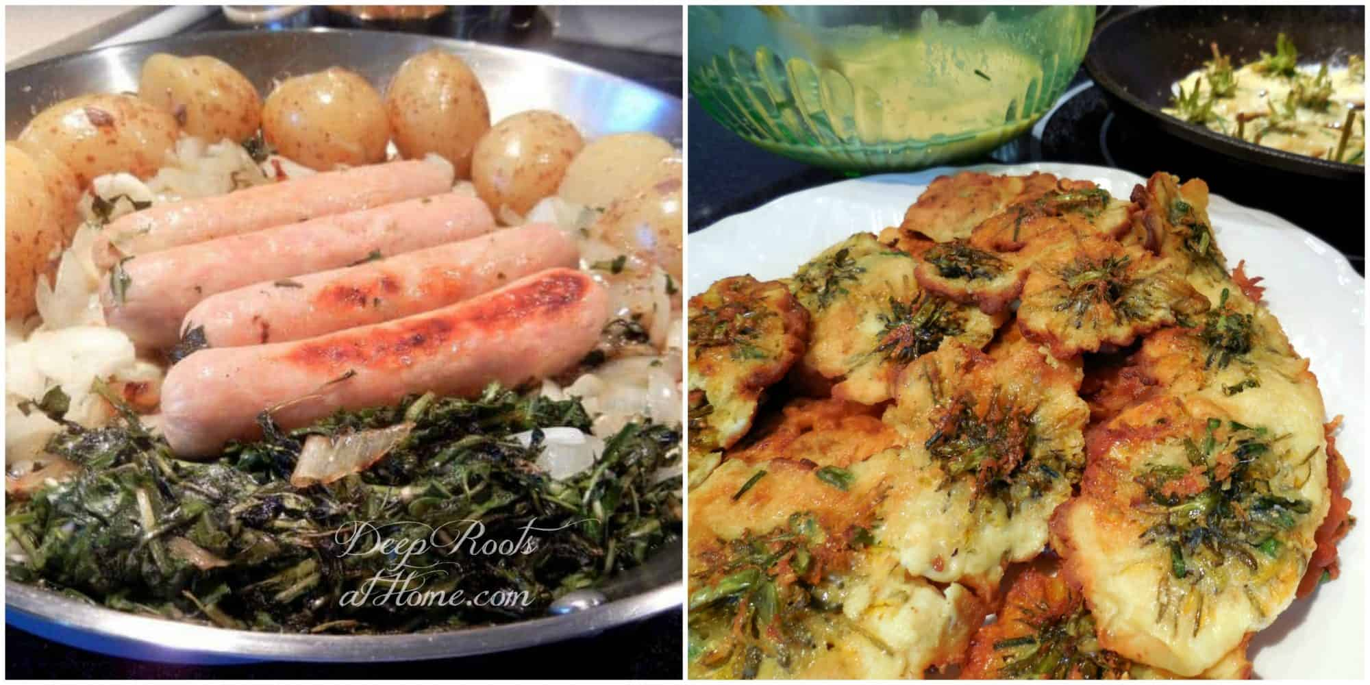 sausage, dandelion greens and potatoes, and fritters