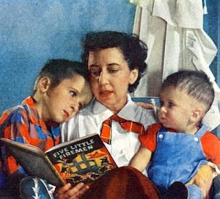 Character-Building Book Resources For Raising Boys, vintage painting of a mother reading to children