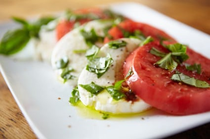 Tomatoes pair well with basil and olive oil